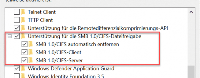 Support for SMB 1.0 CIFS file sharing