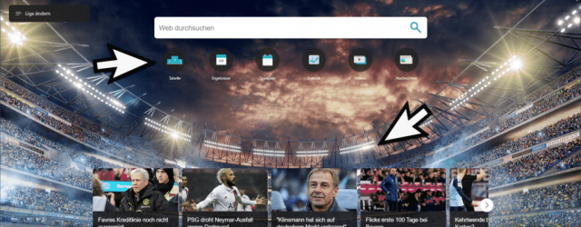 World football tab in the Edge Chromium