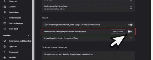 Switch off hardware acceleration Chrome