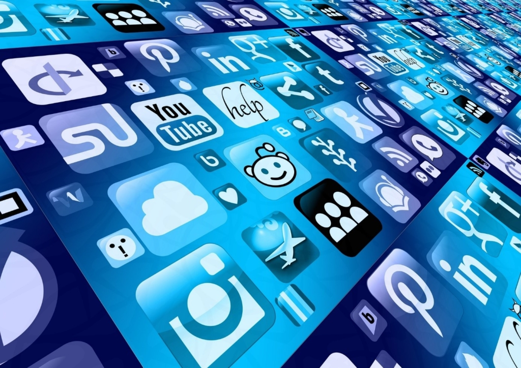 Graphics with symbols of numerous well-known apps