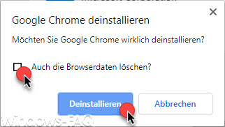 Uninstall Google Chrome - Also delete the browser data