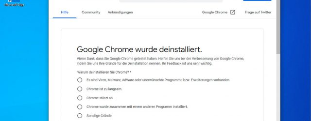 Google Chrome has been uninstalled