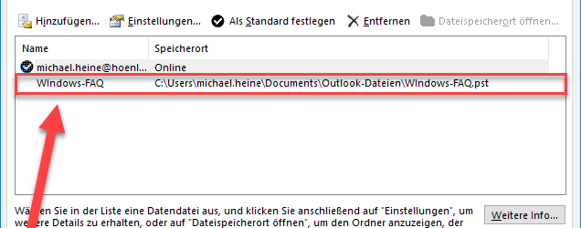 PST file Outlook 2016