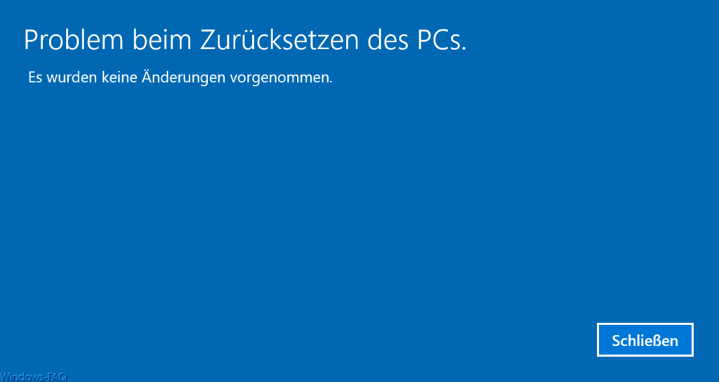 Problem when resetting the PC.