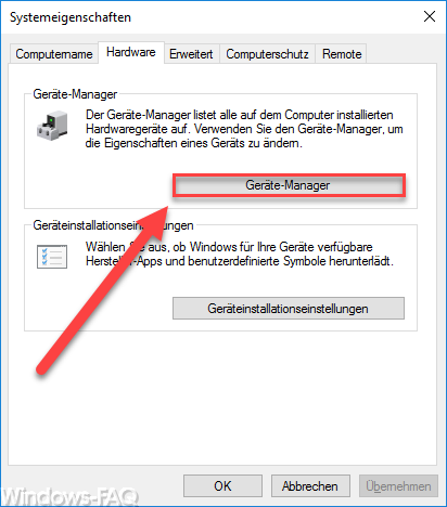 System properties Device Manager