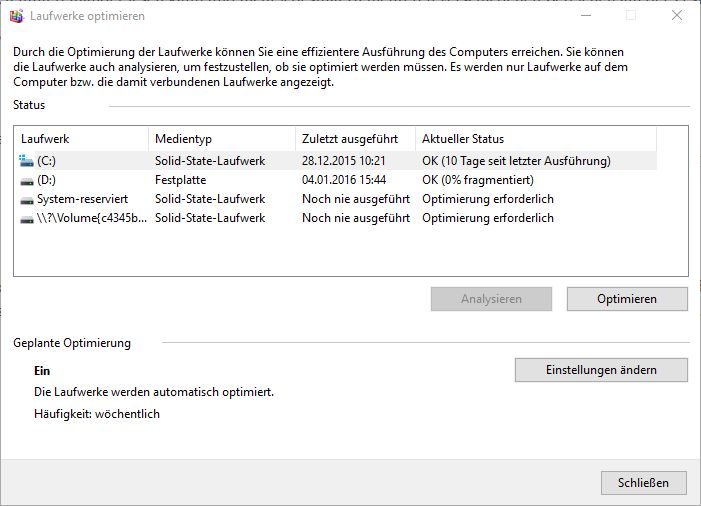 Defragmentation Windows 10, SSD, hard drive, optimization
