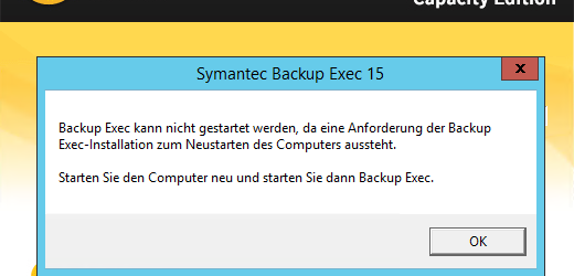 Veritas Backup Exec 2015 FP3 installation restart