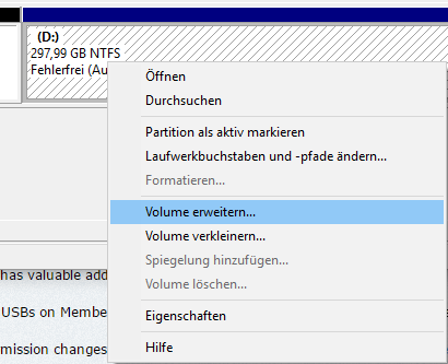 Expand Partition Shrink Volume Properties Disk Management