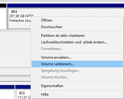 Shrink partition Extend volume