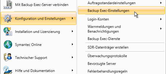 Backup Exec configuration and settings