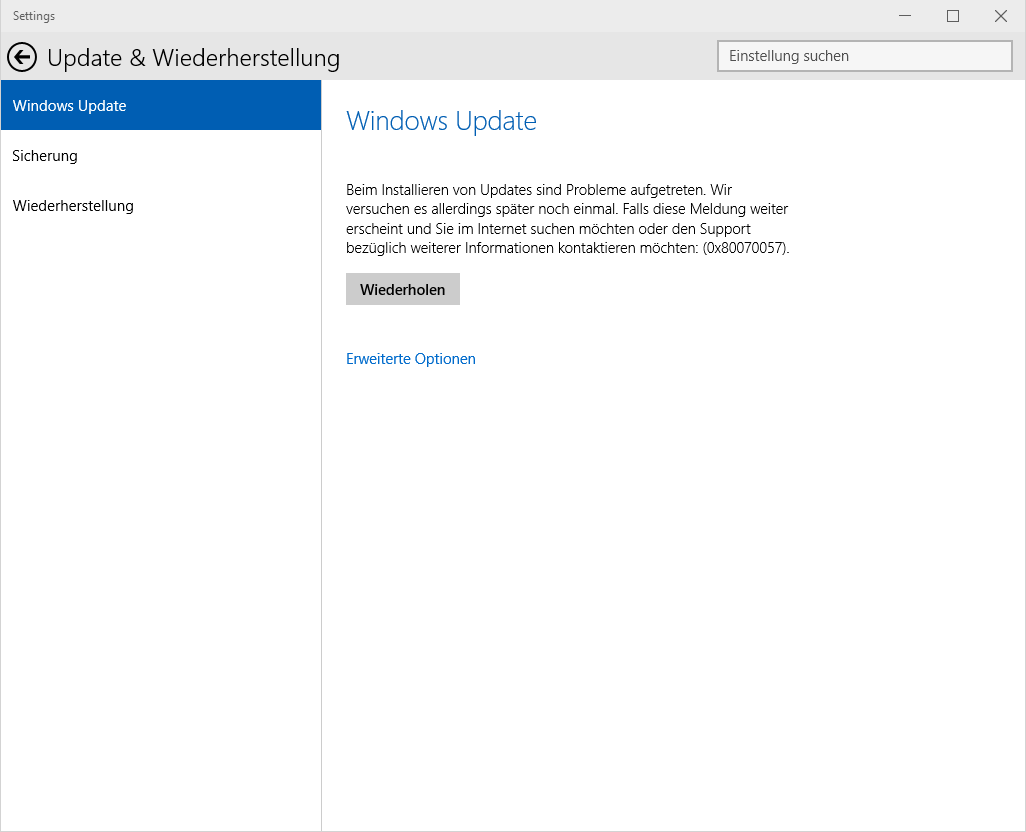 Windows Update 0x80070057